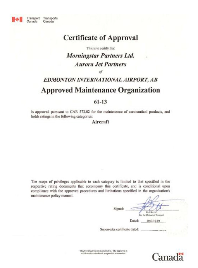 Aurora's AMO Certificate