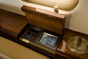 In-flight entertainment controls.